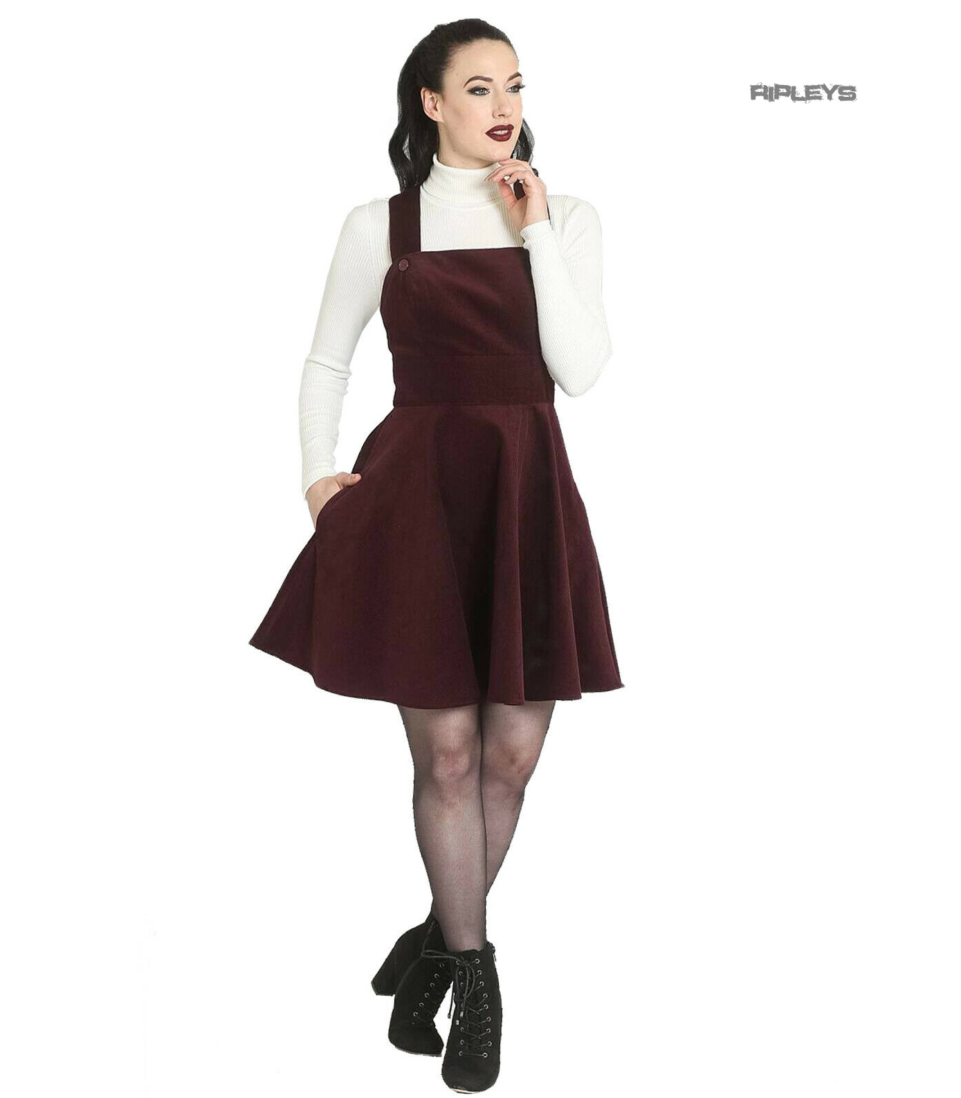 Hell-Bunny-Rockabilly-Corduroy-Mini-Dress-WONDER-YEARS-Pinafore-Wine-All-Sizes thumbnail 14