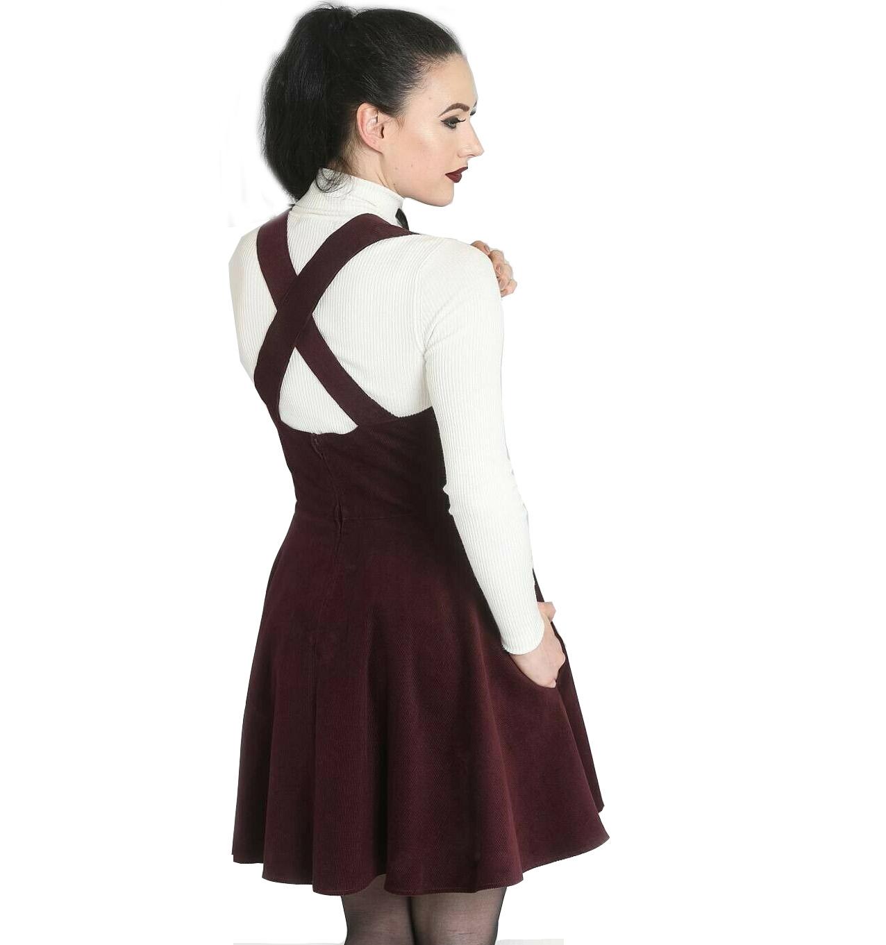 Hell-Bunny-Rockabilly-Corduroy-Mini-Dress-WONDER-YEARS-Pinafore-Wine-All-Sizes thumbnail 5