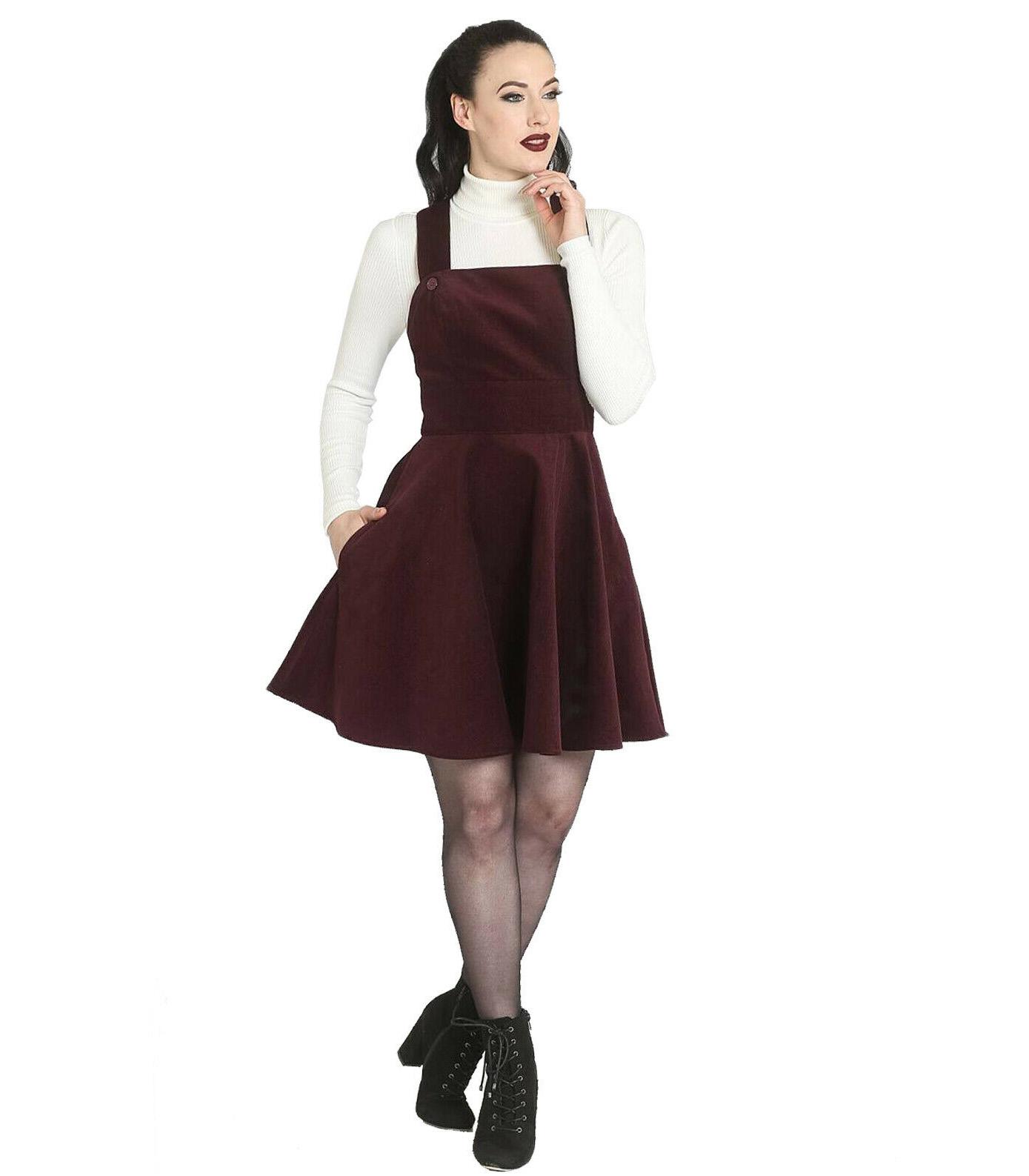 Hell-Bunny-Rockabilly-Corduroy-Mini-Dress-WONDER-YEARS-Pinafore-Wine-All-Sizes thumbnail 3