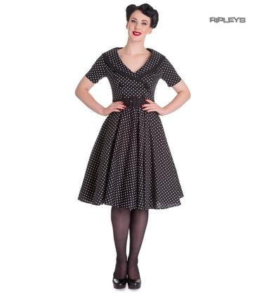 Hell Bunny 40s 50s Pin Up Swing Dress MIMI Polka Dot Black White All Sizes