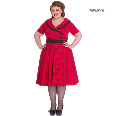 Hell Bunny 40s 50s Pin Up Swing Dress MIMI Polka Dot Black Red All Sizes