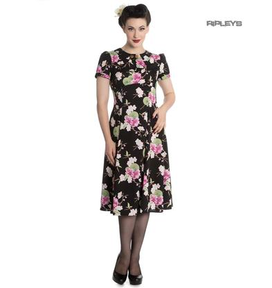Hell Bunny Vintage Pin Up Rockabilly 40s 50s Black FREYA Pink Flowers