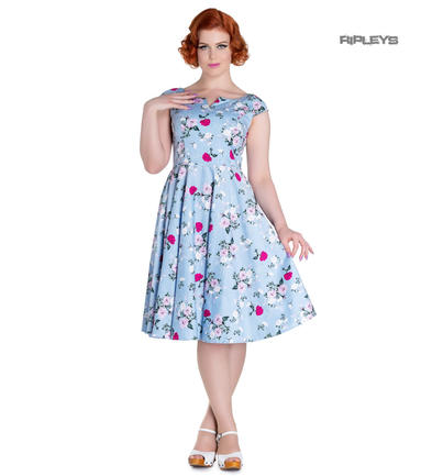 Hell Bunny 50s Dress Floral BELINDA Rockabilly Pin Up Vintage Blue