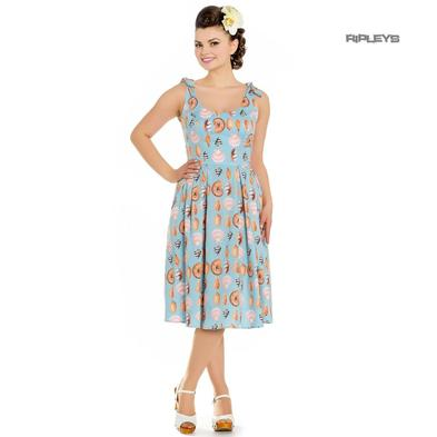 Hell Bunny Rockabilly Vintage 50s Dress Blue MAYA BAY Seashells