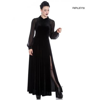 Hell Bunny Vampire Goth Elegant Maxi Dress ESTELLE Black Velvet Mesh All Sizes