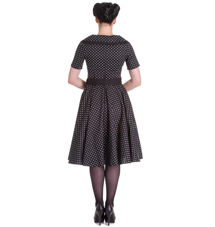 Hell-Bunny-40s-50s-Pin-Up-Swing-Dress-MIMI-Polka-Dot-Black-White-All-Sizes thumbnail 9