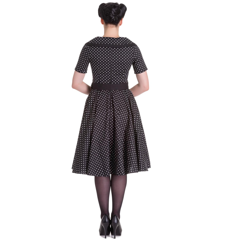 Hell-Bunny-40s-50s-Pin-Up-Swing-Dress-MIMI-Polka-Dot-Black-White-All-Sizes thumbnail 5