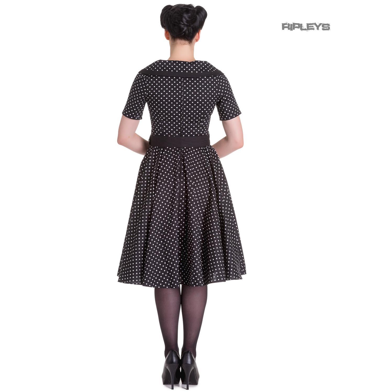 Hell-Bunny-40s-50s-Pin-Up-Swing-Dress-MIMI-Polka-Dot-Black-White-All-Sizes thumbnail 4