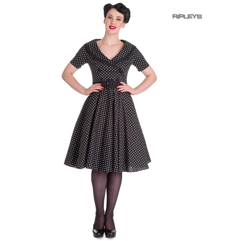 Hell-Bunny-40s-50s-Pin-Up-Swing-Dress-MIMI-Polka-Dot-Black-White-All-Sizes thumbnail 10