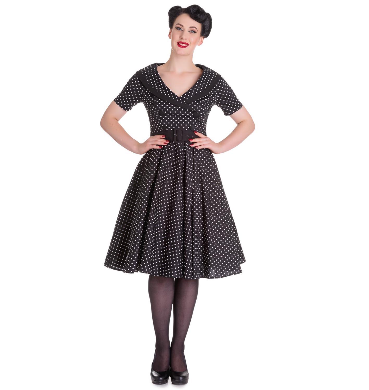 Hell-Bunny-40s-50s-Pin-Up-Swing-Dress-MIMI-Polka-Dot-Black-White-All-Sizes thumbnail 11