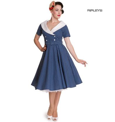 Hell Bunny 40s 50s Pin Up Swing Dress CLAUDIA Polka Dot Blue White