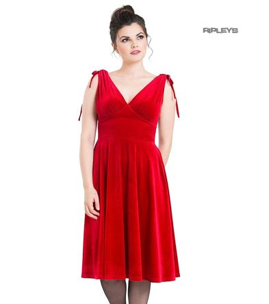Hell Bunny 40s 50s Elegant Pin Up Dress MELINA Crushed Velvet Red All Sizes Preview