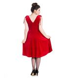 Hell Bunny 40s 50s Elegant Pin Up Dress MELINA Crushed Velvet Red All Sizes Thumbnail 4