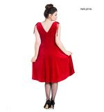 Hell Bunny 40s 50s Elegant Pin Up Dress MELINA Crushed Velvet Red All Sizes Thumbnail 3