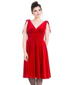 Hell Bunny 40s 50s Elegant Pin Up Dress MELINA Crushed Velvet Red All Sizes Thumbnail 2