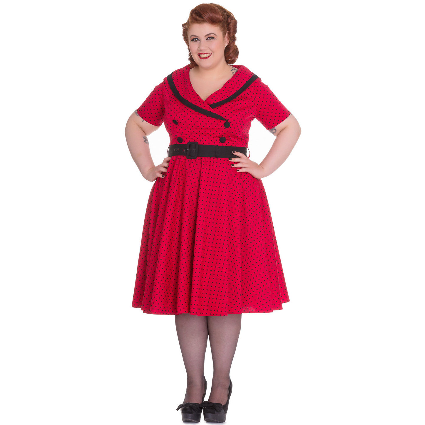 Hell-Bunny-40s-50s-Pin-Up-Swing-Dress-MIMI-Polka-Dot-Black-Red-All-Sizes thumbnail 7
