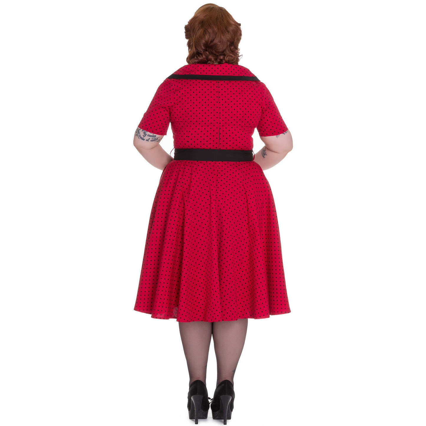 Hell-Bunny-40s-50s-Pin-Up-Swing-Dress-MIMI-Polka-Dot-Black-Red-All-Sizes thumbnail 5