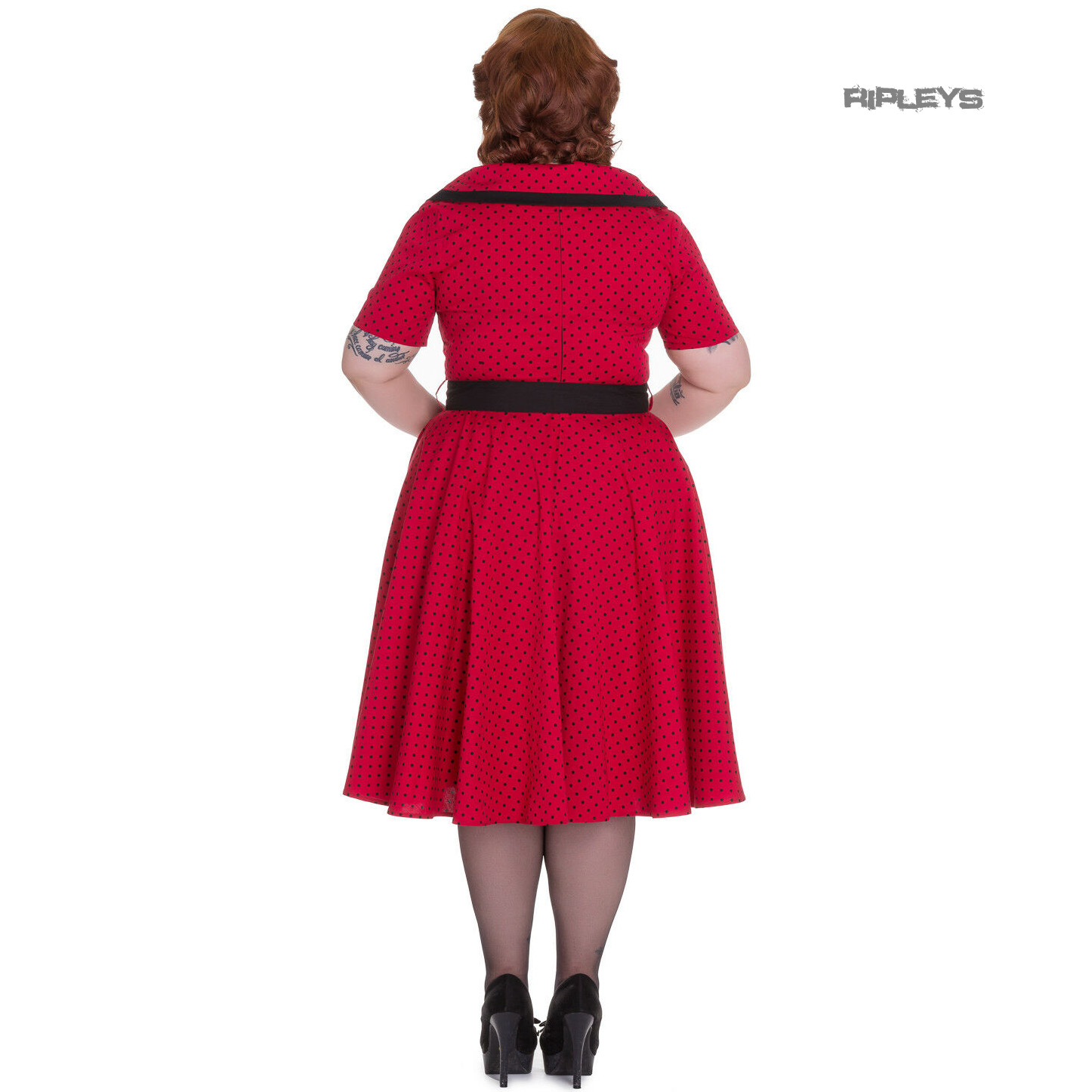 Hell-Bunny-40s-50s-Pin-Up-Swing-Dress-MIMI-Polka-Dot-Black-Red-All-Sizes thumbnail 4