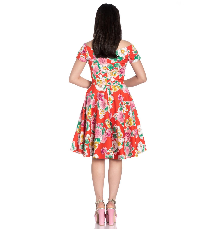 Hell-Bunny-Pin-Up-Orange-Mid-Length-50s-Dress-MARGUERITA-Roses-Flowers-Margarita thumbnail 5