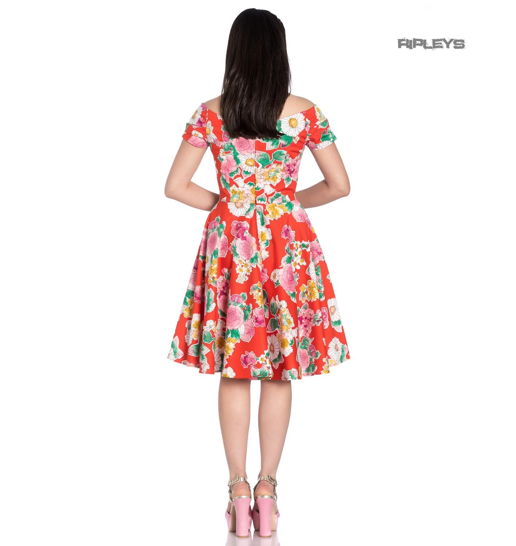 Hell-Bunny-Pin-Up-Orange-Mid-Length-50s-Dress-MARGUERITA-Roses-Flowers-Margarita thumbnail 4
