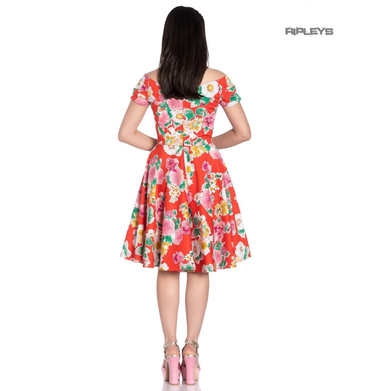 Hell-Bunny-Pin-Up-Orange-Mid-Length-50s-Dress-MARGUERITA-Roses-Flowers-Margarita thumbnail 12