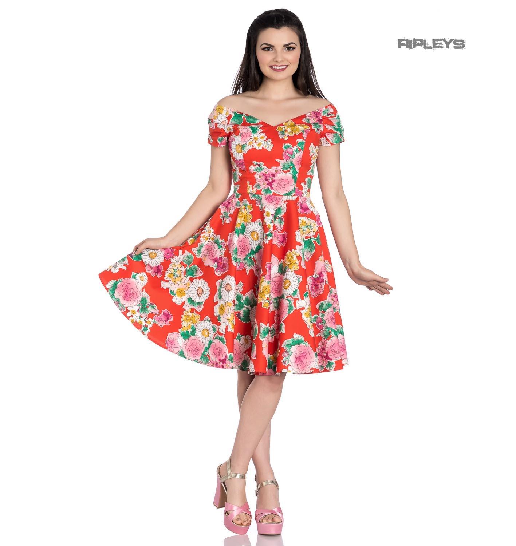 Hell-Bunny-Pin-Up-Orange-Mid-Length-50s-Dress-MARGUERITA-Roses-Flowers-Margarita thumbnail 10