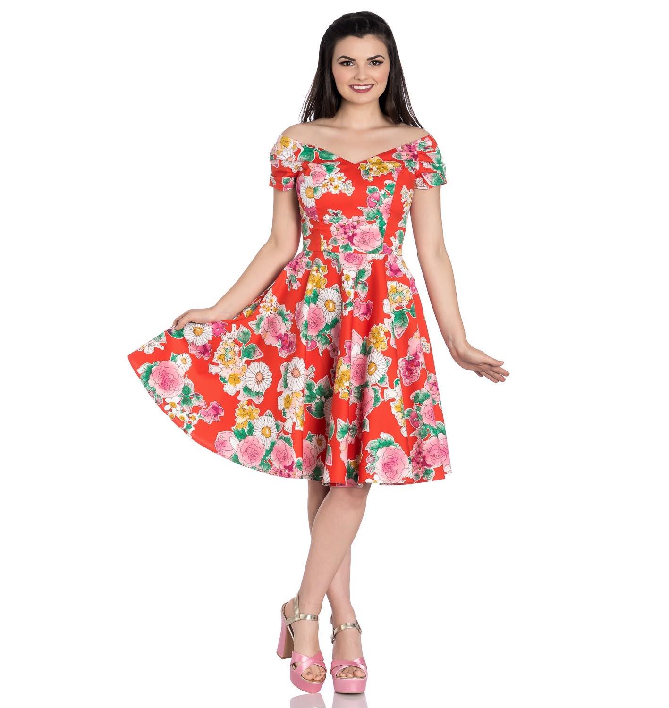 Hell-Bunny-Pin-Up-Orange-Mid-Length-50s-Dress-MARGUERITA-Roses-Flowers-Margarita thumbnail 7