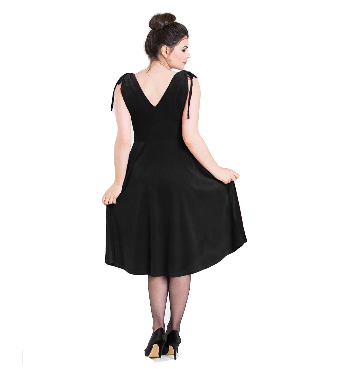 Hell-Bunny-40s-50s-Elegant-Pin-Up-Dress-MELINA-Crushed-Velvet-Black-All-Sizes thumbnail 9