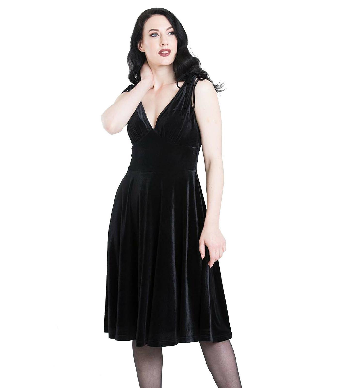 Hell-Bunny-40s-50s-Elegant-Pin-Up-Dress-MELINA-Crushed-Velvet-Black-All-Sizes thumbnail 3