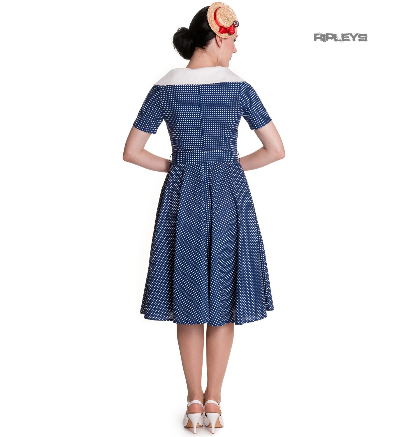 Hell-Bunny-40s-50s-Pin-Up-Swing-Dress-CLAUDIA-Polka-Dot-Blue-White thumbnail 4