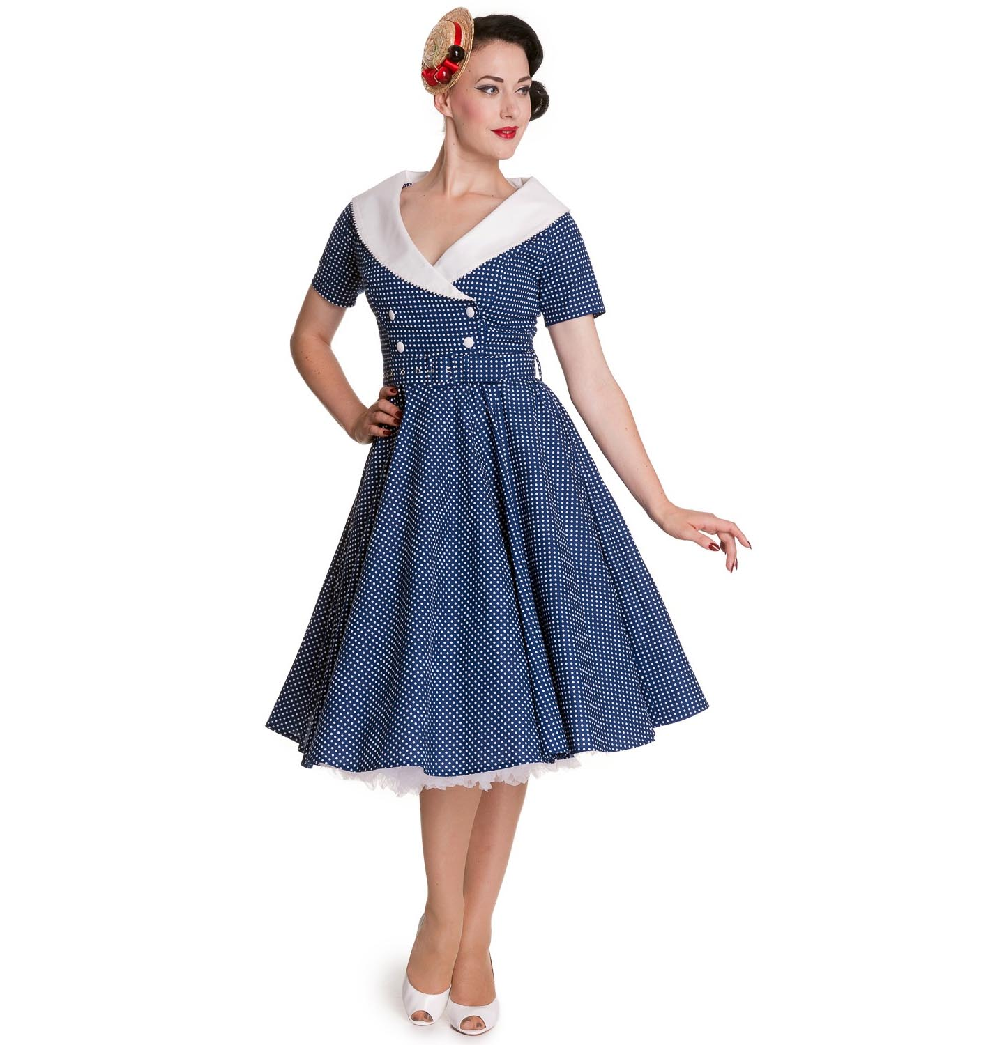 Hell-Bunny-40s-50s-Pin-Up-Swing-Dress-CLAUDIA-Polka-Dot-Blue-White thumbnail 3