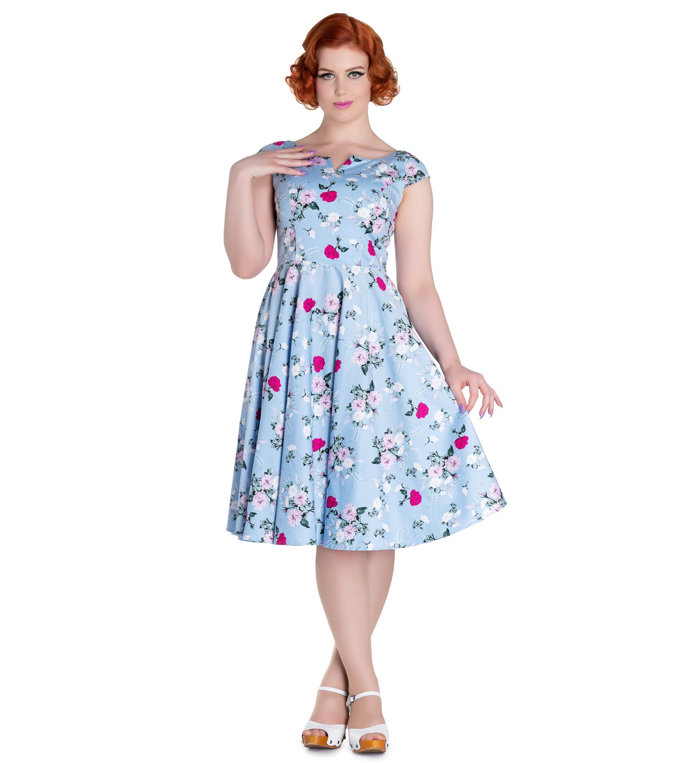 Hell-Bunny-50s-Dress-Floral-BELINDA-Rockabilly-Pin-Up-Vintage-Blue thumbnail 3