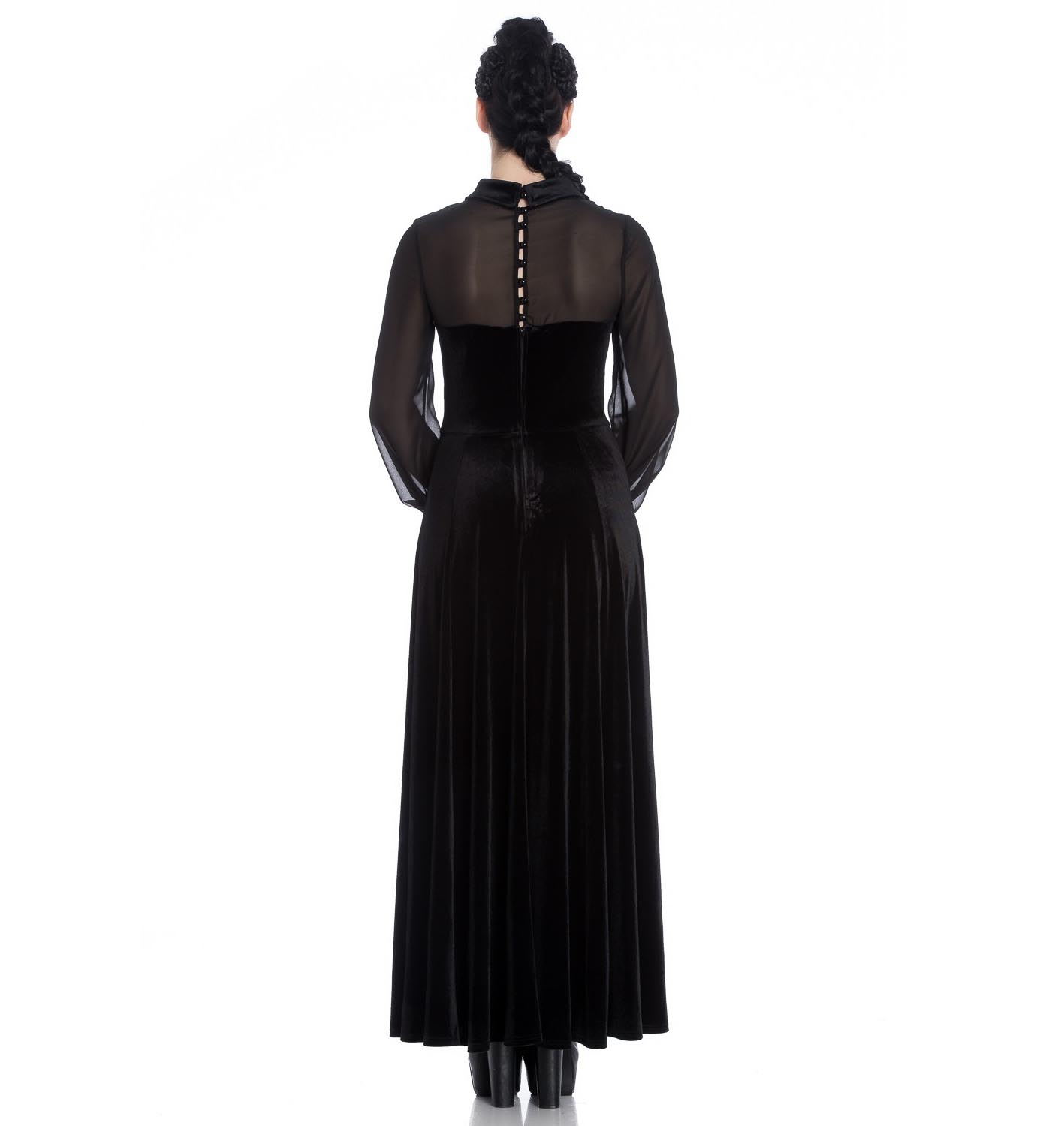 Hell-Bunny-Vampire-Goth-Elegant-Maxi-Dress-ESTELLE-Black-Velvet-Mesh-All-Sizes thumbnail 5