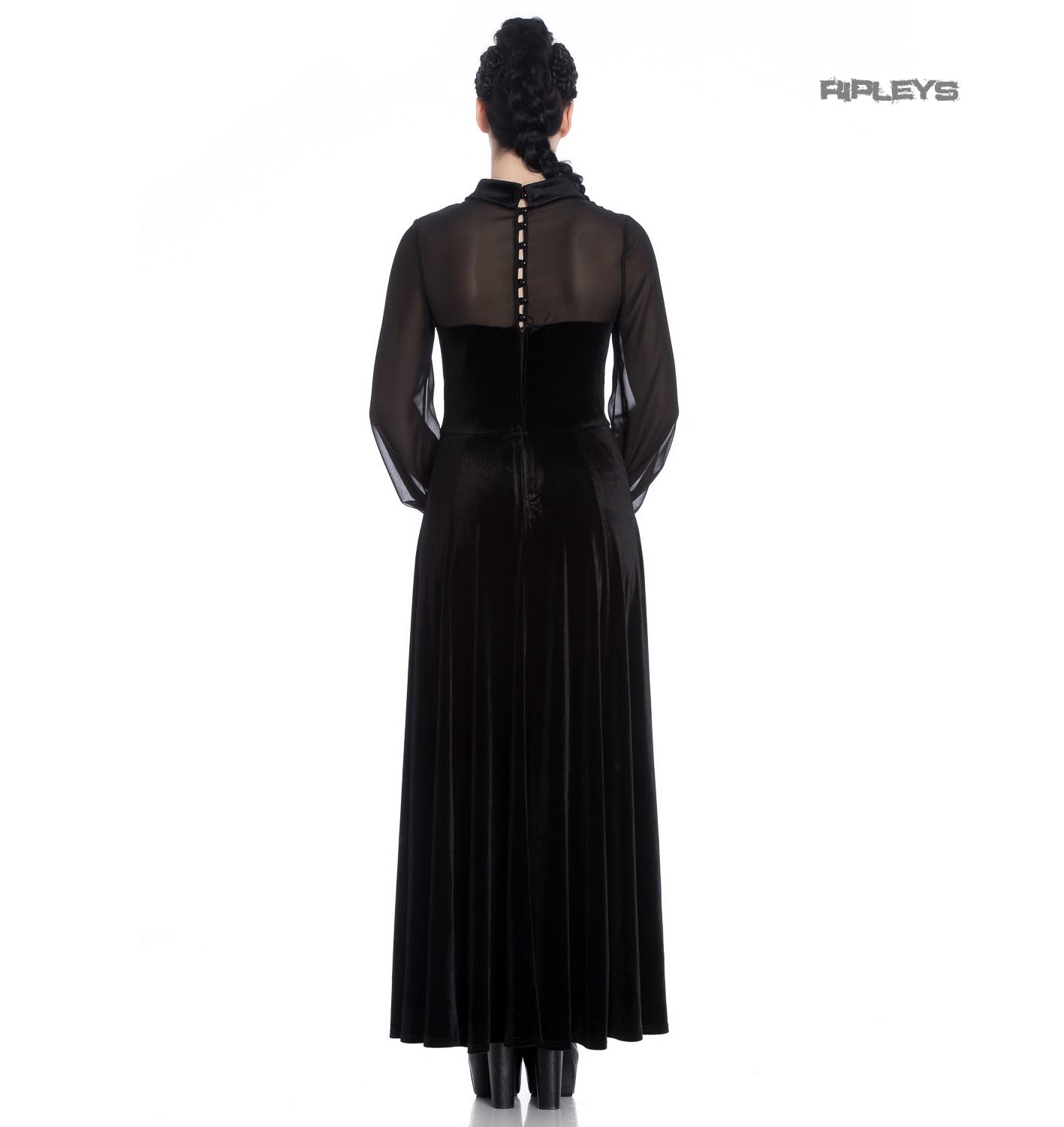 Hell-Bunny-Vampire-Goth-Elegant-Maxi-Dress-ESTELLE-Black-Velvet-Mesh-All-Sizes thumbnail 4