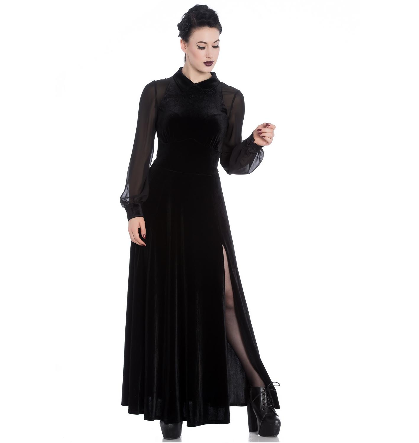 Hell-Bunny-Vampire-Goth-Elegant-Maxi-Dress-ESTELLE-Black-Velvet-Mesh-All-Sizes thumbnail 3