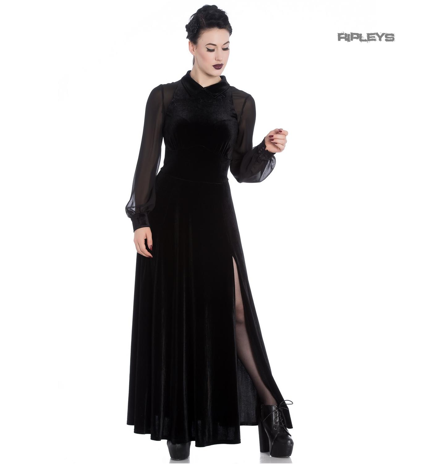 Hell-Bunny-Vampire-Goth-Elegant-Maxi-Dress-ESTELLE-Black-Velvet-Mesh-All-Sizes thumbnail 2