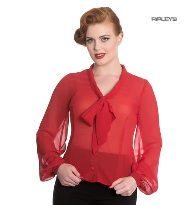 Hell Bunny Elegant Shirt Floaty Top LYNN Red Blouse Chiffon  Preview