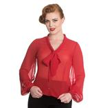 Hell Bunny Elegant Shirt Floaty Top LYNN Red Blouse Chiffon  Thumbnail 2