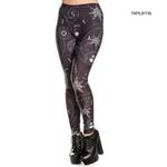 Hell Bunny Black Gothic Leggings ODESSA Skulls Stars All Sizes Thumbnail 1