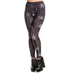 Hell Bunny Black Gothic Leggings ODESSA Skulls Stars All Sizes Thumbnail 2