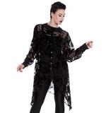 Hell Bunny Spin Dr Black Shirt Top Gothic Vampire Floaty AMORET Blouse Thumbnail 6