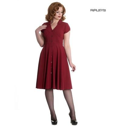 Hell Bunny 40s 50s Elegant Pin Up Tea Dress KEELY Raspberry Red