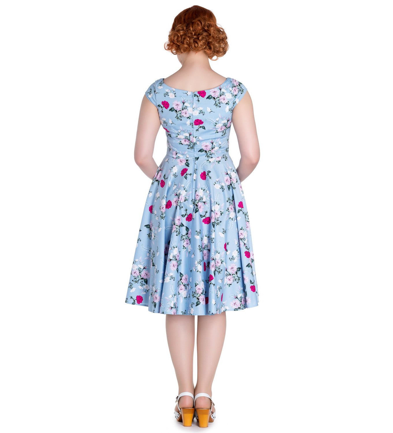 Hell-Bunny-50s-Dress-Floral-BELINDA-Rockabilly-Pin-Up-Vintage-Blue thumbnail 9