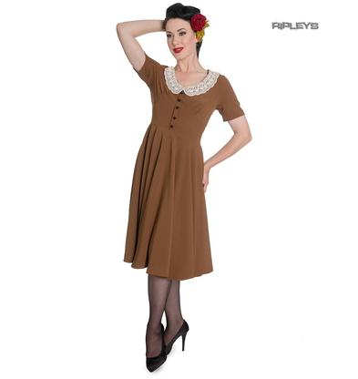 Hell Bunny Vintage Pin Up Tea Dress 40s 50s JULIANA Tobacco Brown Preview