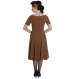 Hell Bunny Vintage Pin Up Tea Dress 40s 50s JULIANA Tobacco Brown Thumbnail 4