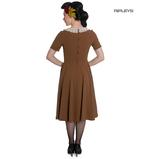 Hell Bunny Vintage Pin Up Tea Dress 40s 50s JULIANA Tobacco Brown Thumbnail 3
