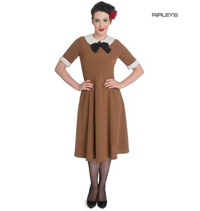 Hell Bunny Vintage Pin Up Tea Dress 40s 50s KIM Tobacco Brown  Preview