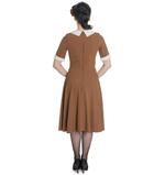 Hell Bunny Vintage Pin Up Tea Dress 40s 50s KIM Tobacco Brown  Thumbnail 4