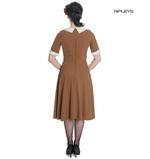 Hell Bunny Vintage Pin Up Tea Dress 40s 50s KIM Tobacco Brown  Thumbnail 3