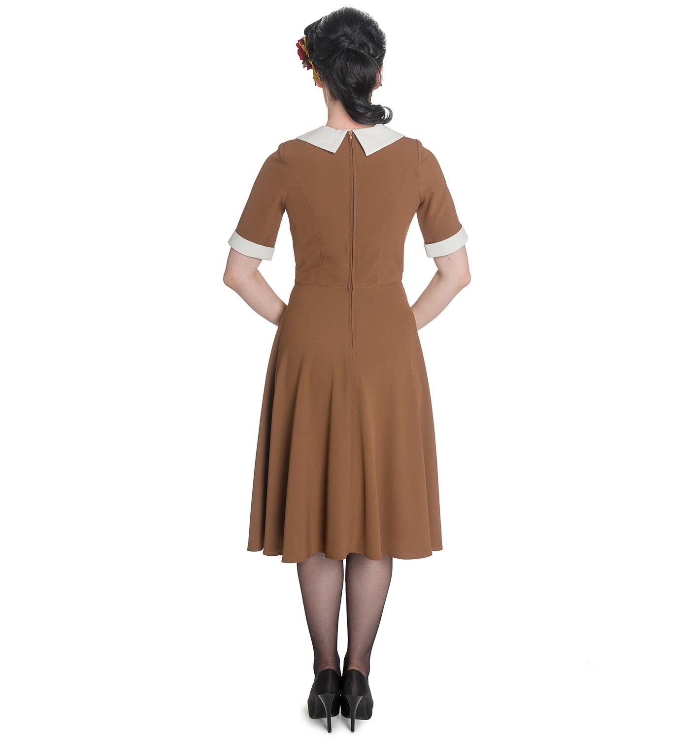 Hell-Bunny-Vintage-Pin-Up-Tea-Dress-40s-50s-KIM-Tobacco-Brown thumbnail 5